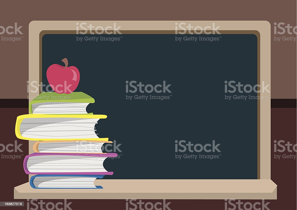 Back to School Blackboard and Books royalty-free stock vector art