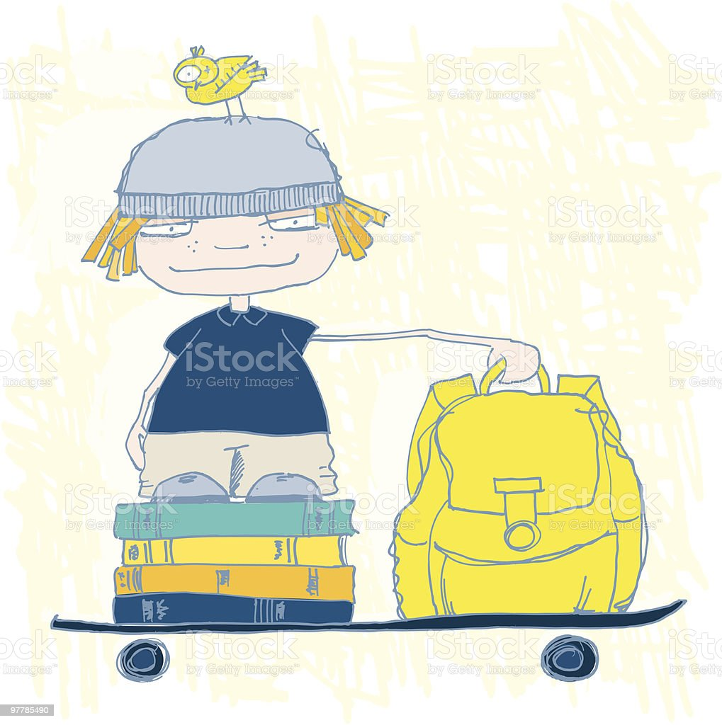 Back to school boy royalty-free stock vector art