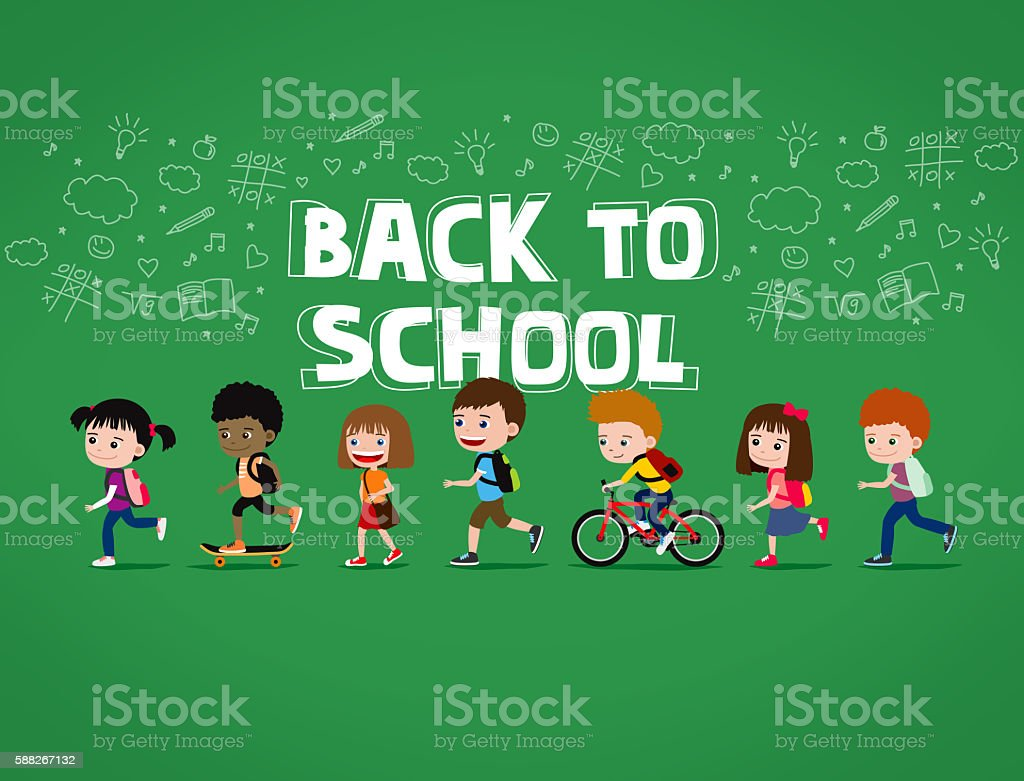 Back to school illustration: group of cartoon children with backpacks vector art illustration