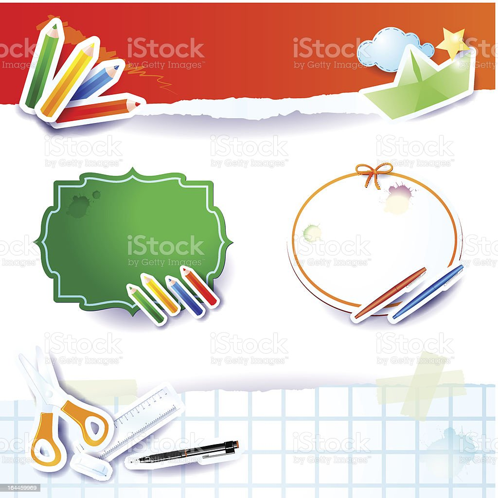 'Back to school, paper elements' royalty-free stock vector art