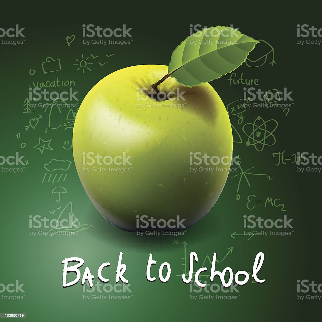 Back to school, with green apple on desk royalty-free stock vector art