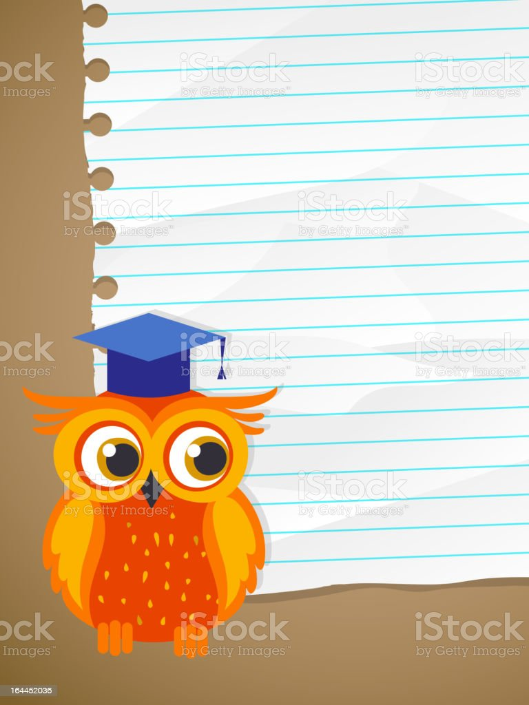 Back to school - wrinkled lined paper and owl royalty-free stock vector art