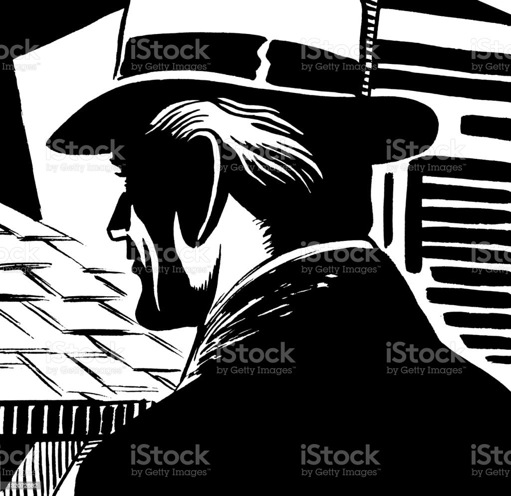 Back View of Man in Hat vector art illustration