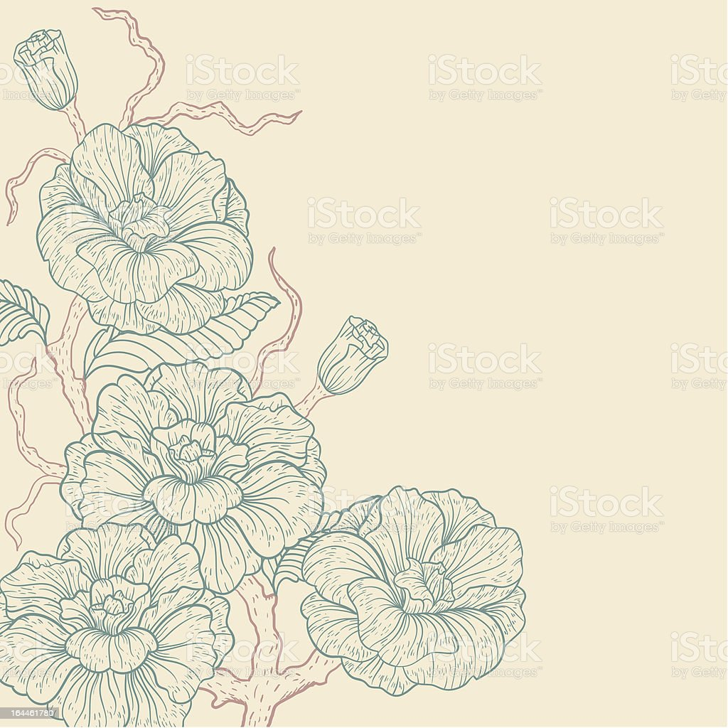 backgroun with blue flowers vector art illustration