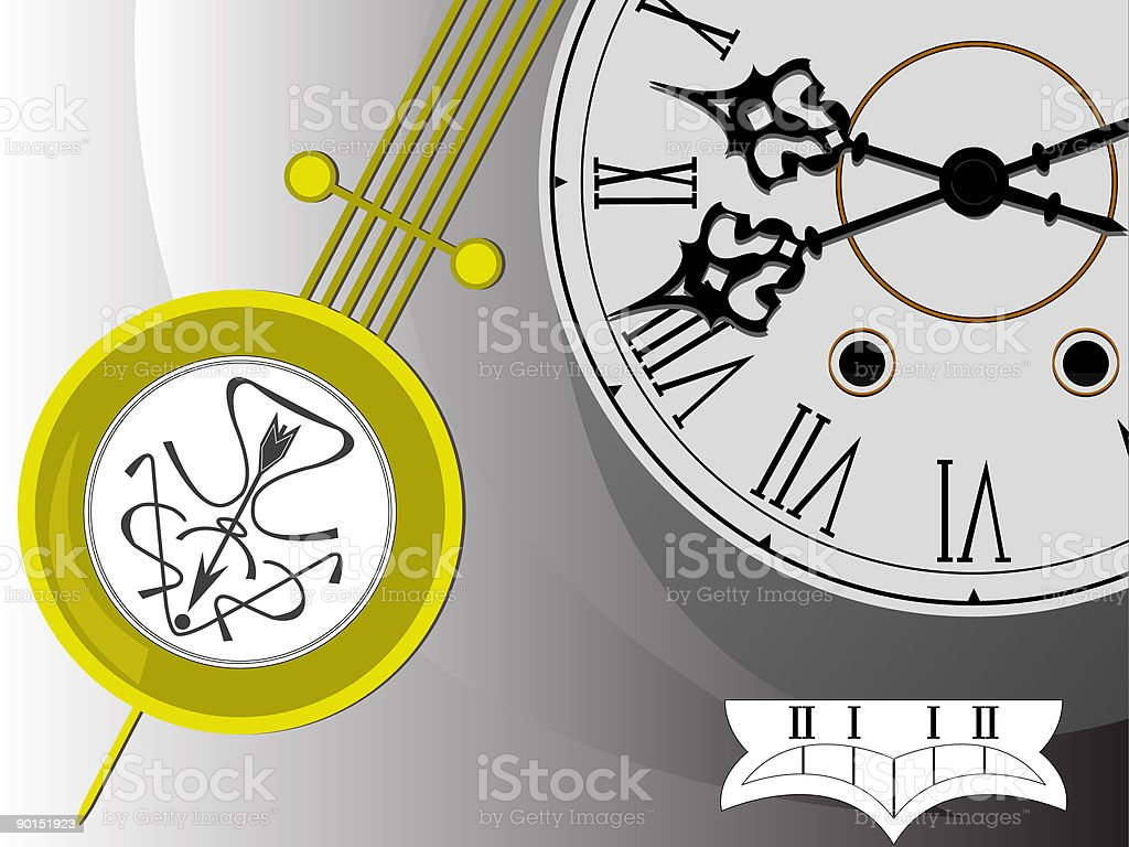 Background antiquarian clock royalty-free stock vector art