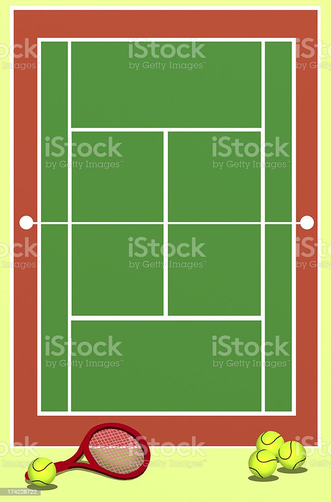 Background of Tennis Field vector art illustration