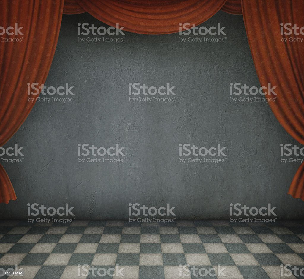 Background of the room with red curtains. royalty-free stock vector art