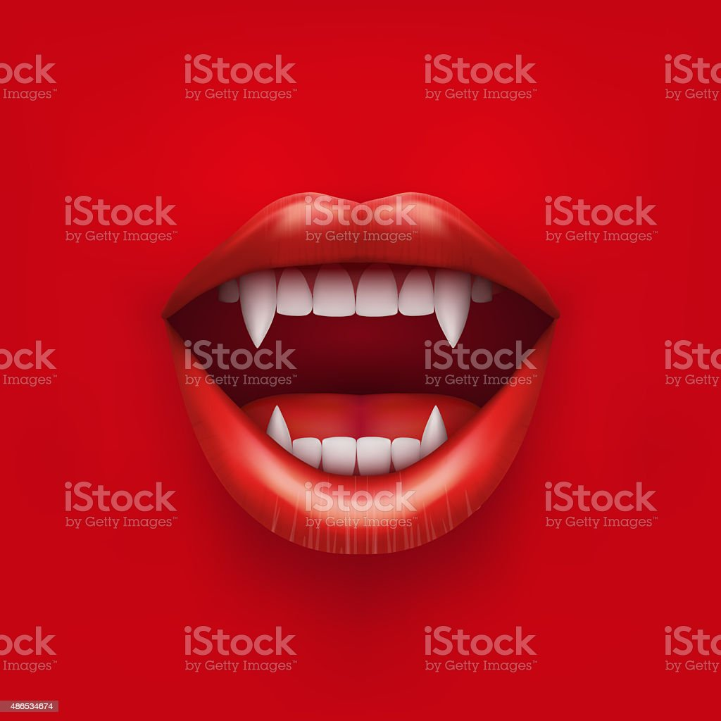 Background of vampire mouth with open lips vector art illustration