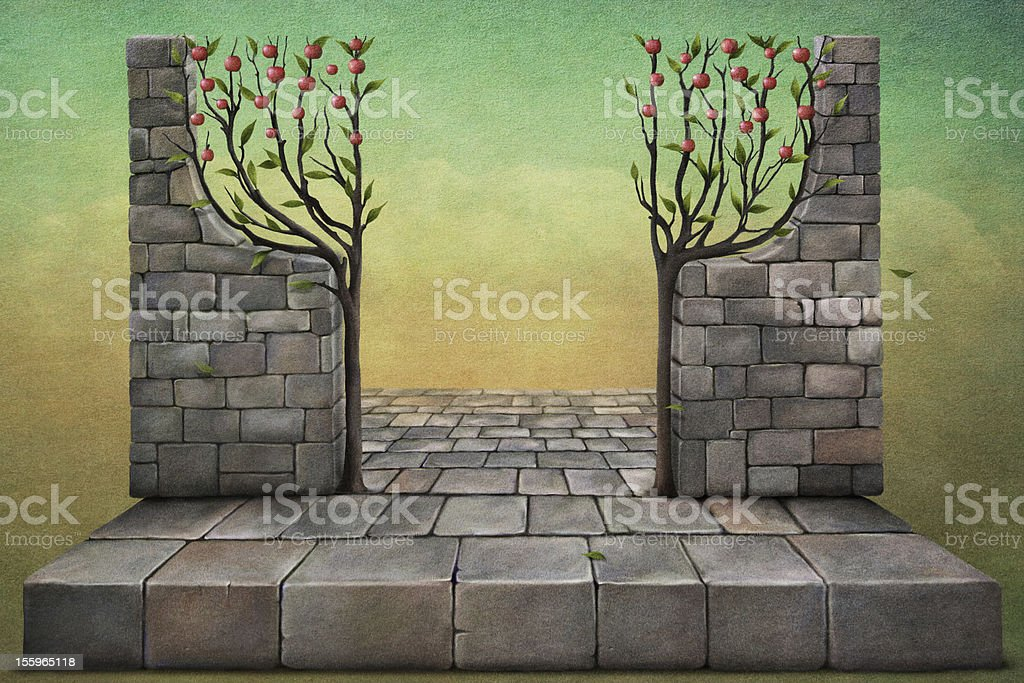 Background or illustration with apple trees. vector art illustration