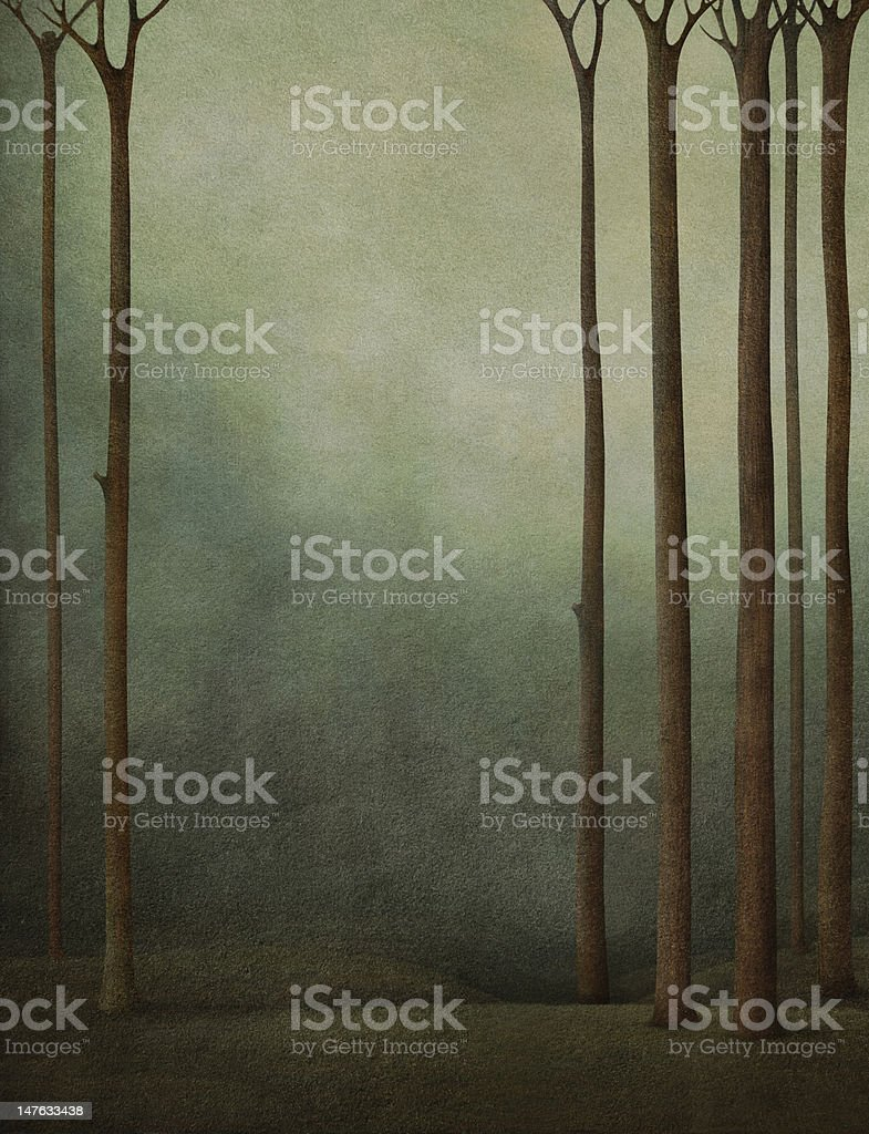 Background to the forest and meadow. vector art illustration