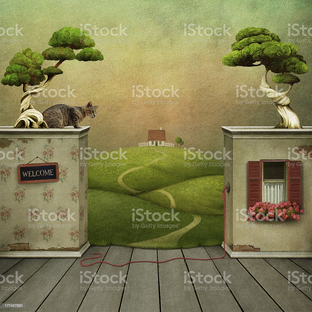 Background to the room and exit. royalty-free stock vector art