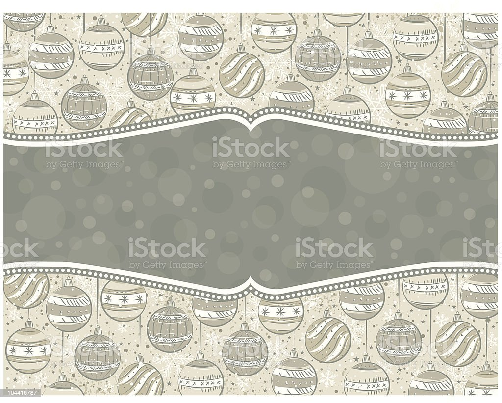 background with christmas balls and label for message royalty-free stock vector art