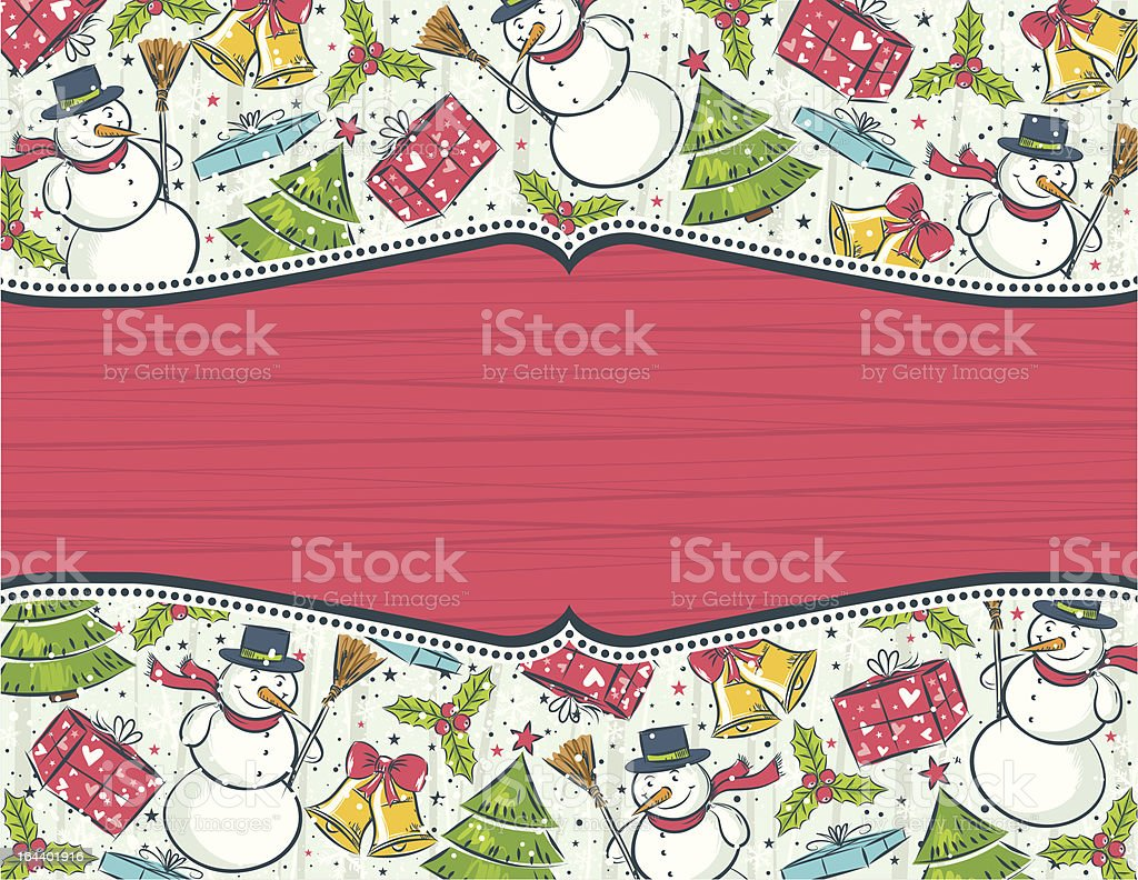 background with christmas elements and red label for message royalty-free stock vector art