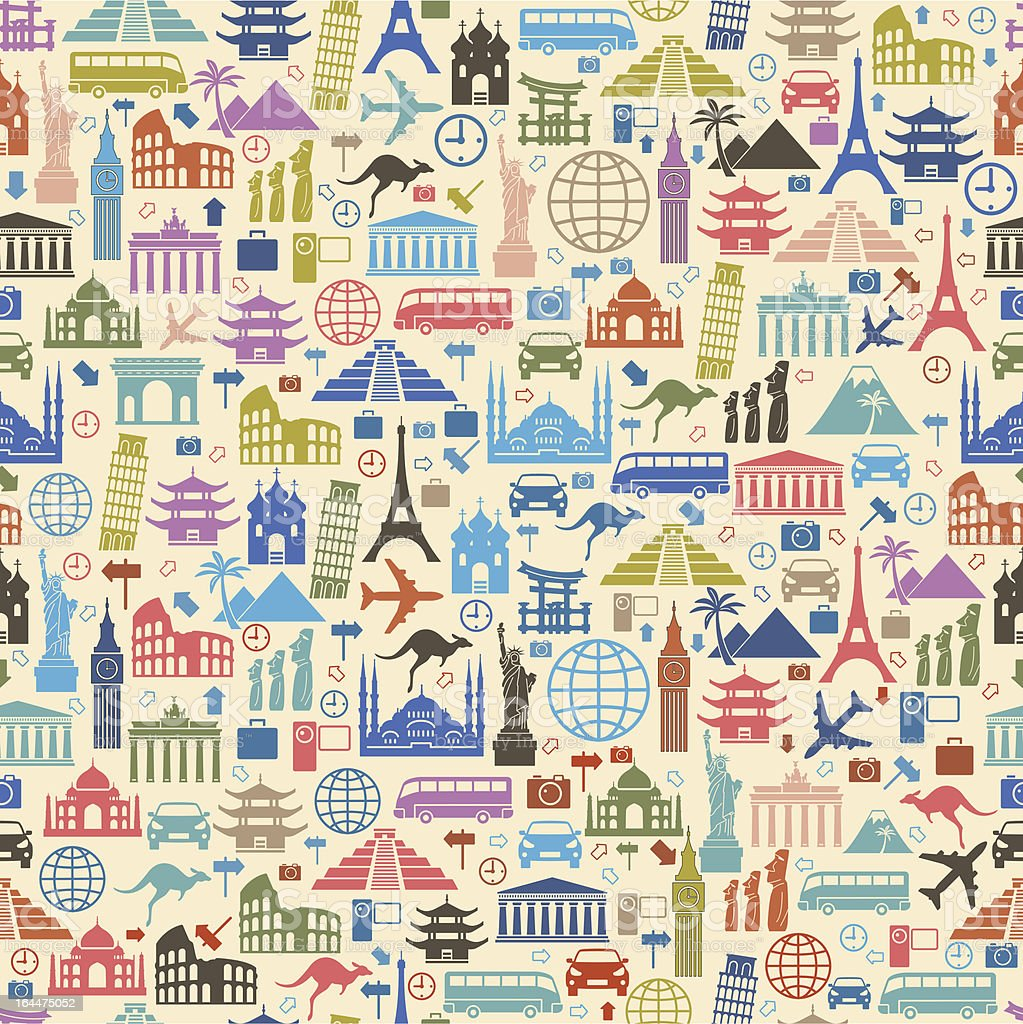 Background with colorful travel icons vector art illustration