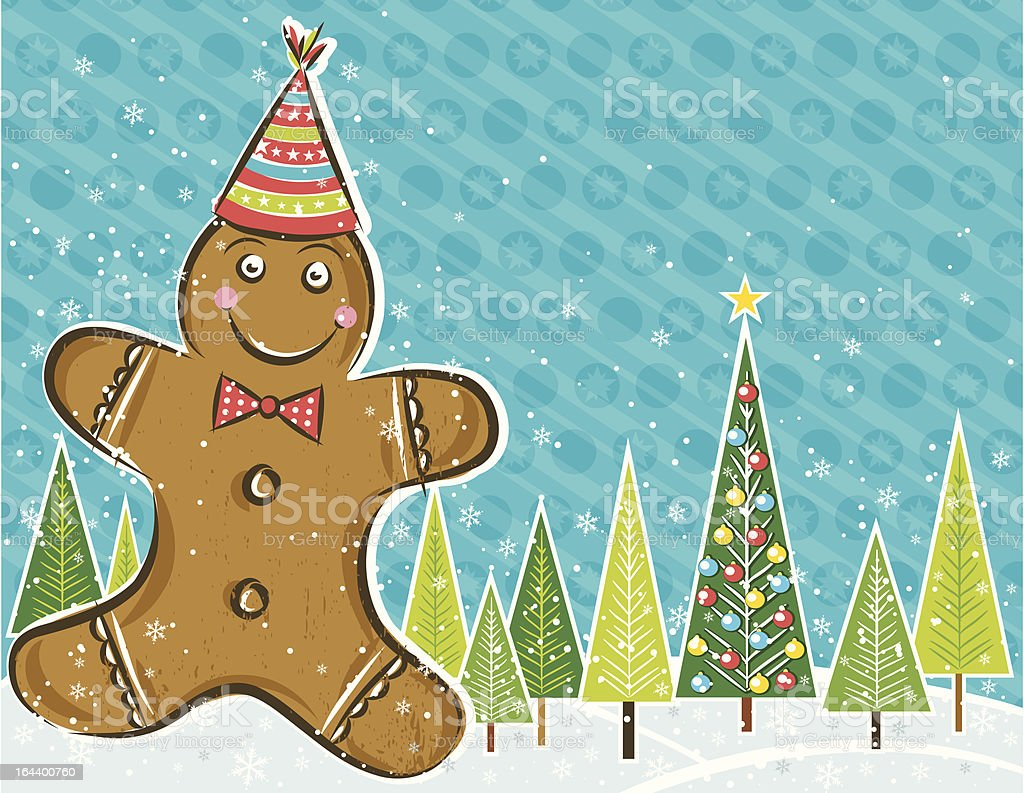 background with Gingerbread man vector art illustration