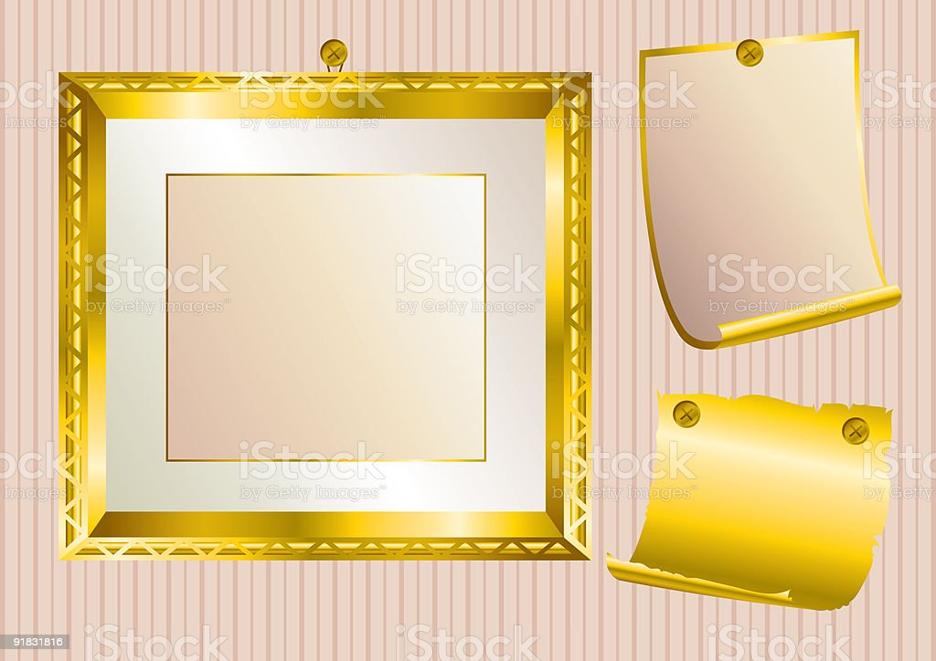 Background with gold frame royalty-free stock vector art