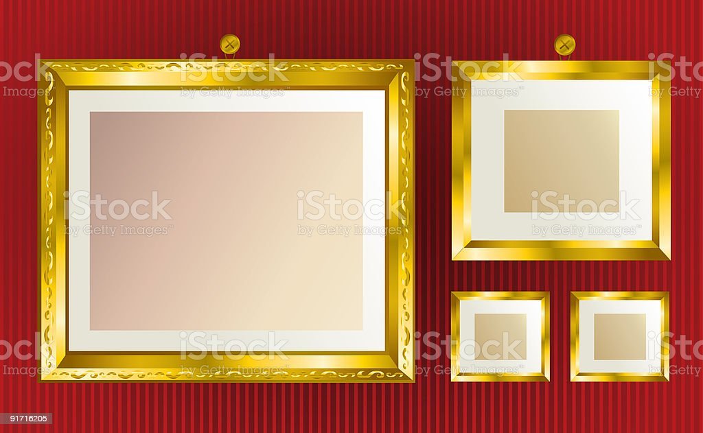 Background with gold frames royalty-free stock vector art