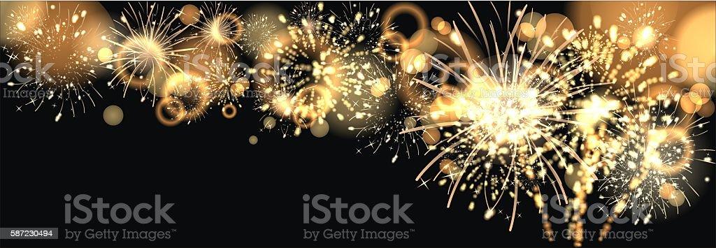 background with golden firework vector art illustration