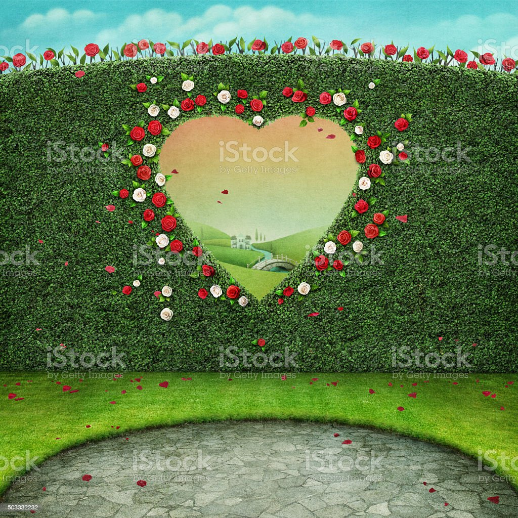 Background with heart window vector art illustration