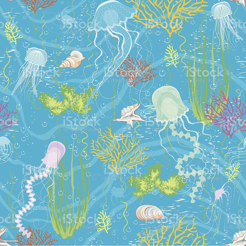 Background with jellyfishes vector art illustration