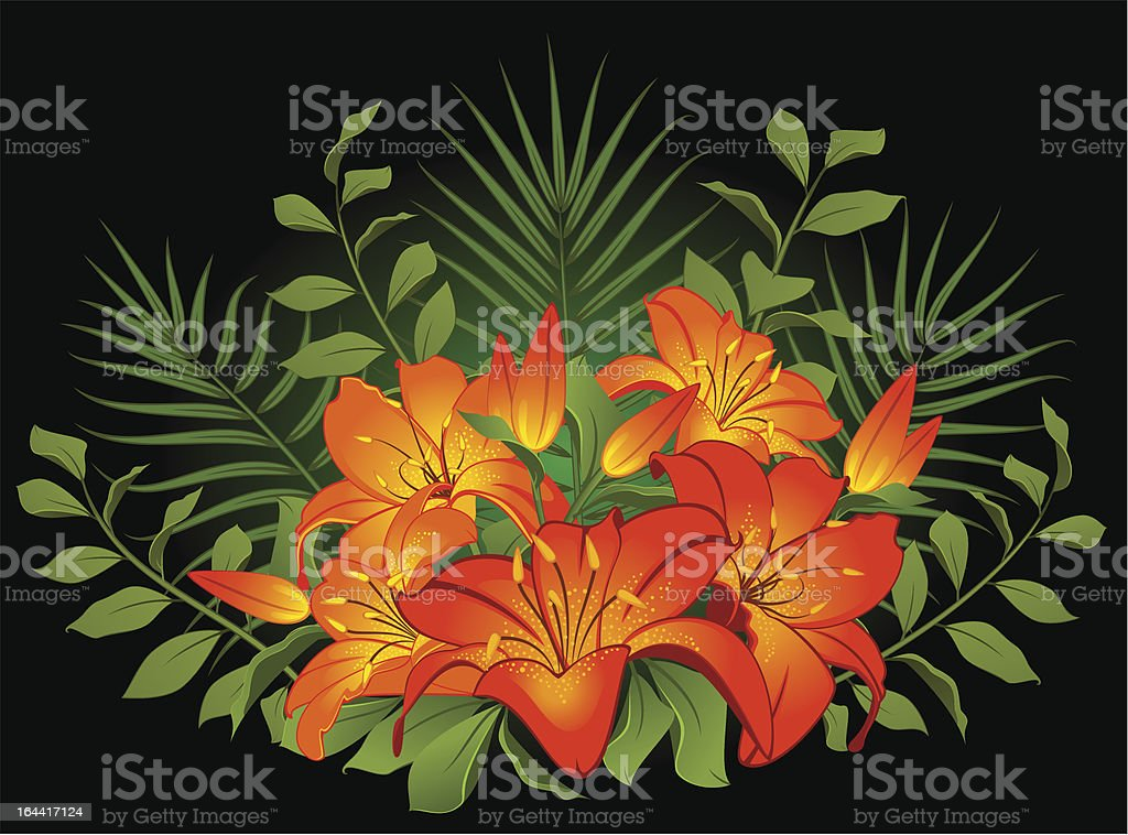 Background with lilies. Vector royalty-free stock vector art