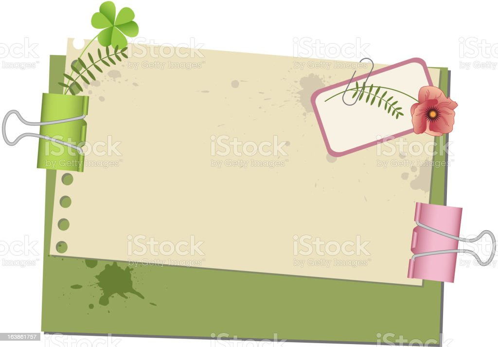 background with old paper and paperclips royalty-free stock vector art