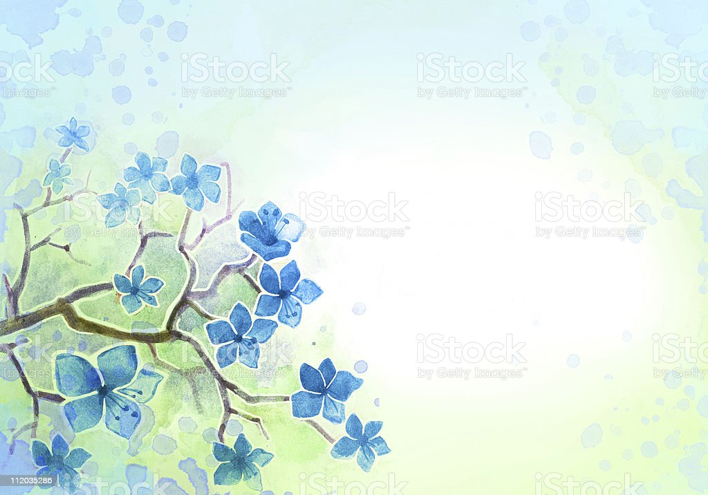 Background with watercolor flowers vector art illustration