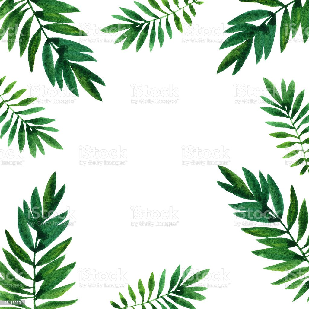 background with watercolor green leaves vector art illustration