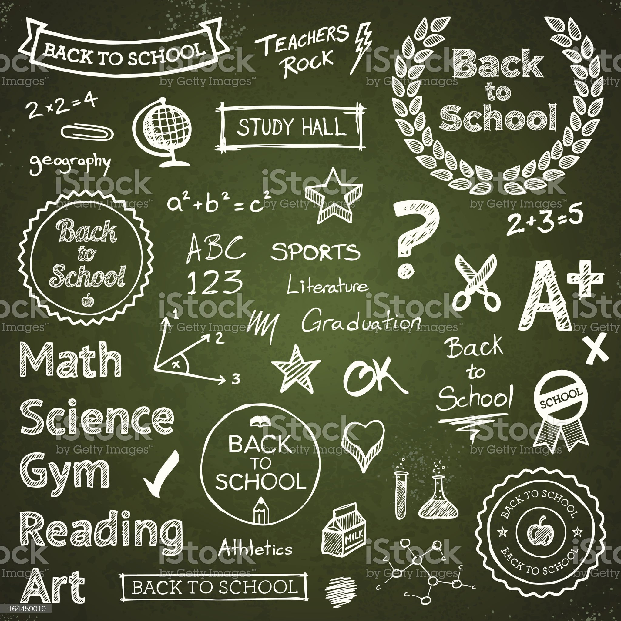 Back-to-school hand-drawn elements royalty-free stock vector art