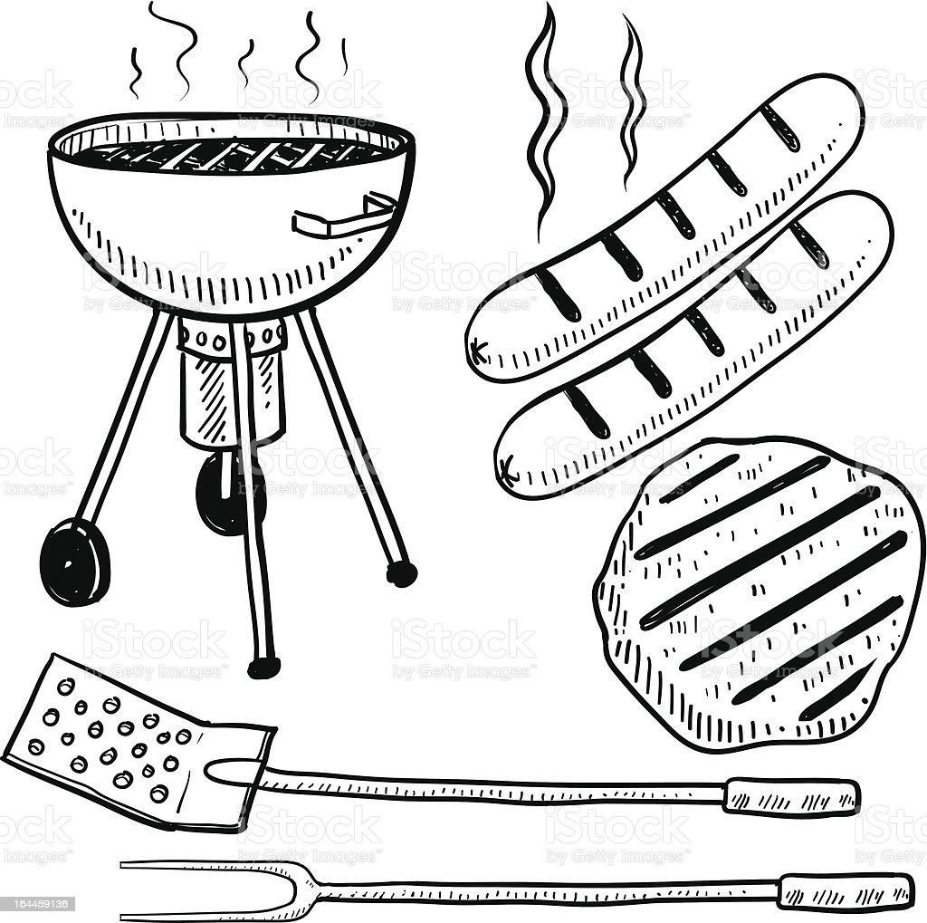Backyard barbecue objects sketch vector art illustration