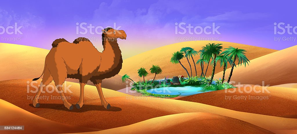 Bactrian Camel Goes Through the Desert vector art illustration