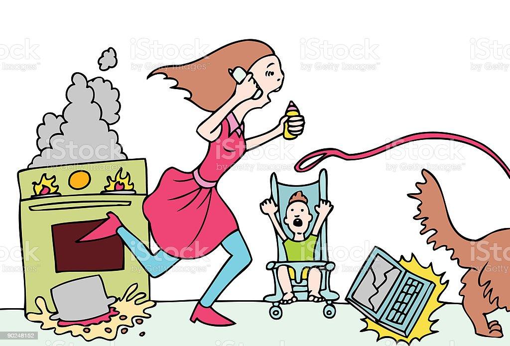 Bad Day for Mommy vector art illustration
