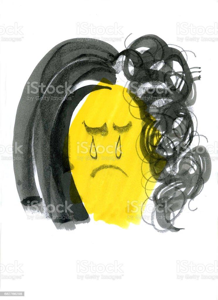 Bad hair day vector art illustration