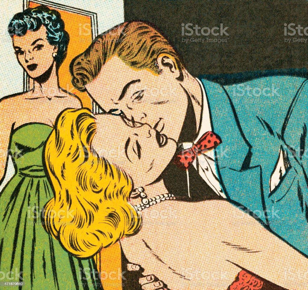 Bad kiss vector art illustration