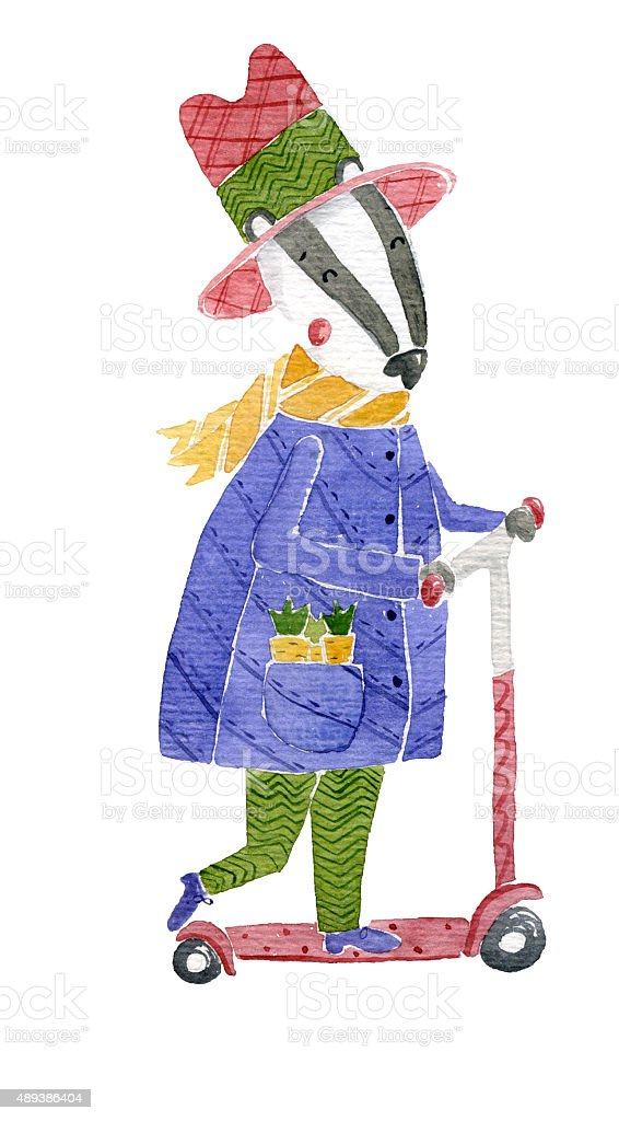 Badger on Scooter Watercolor Illustration vector art illustration