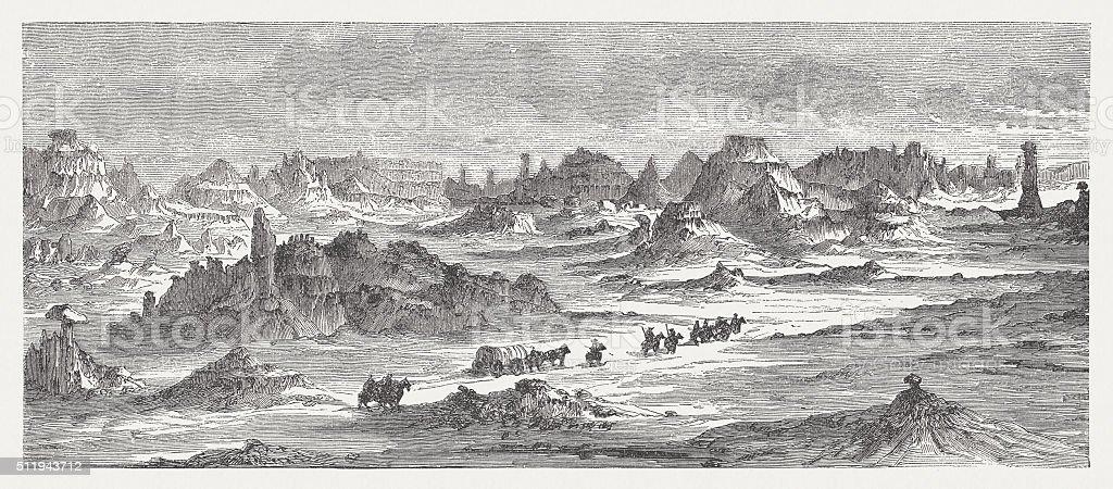 Badlands in South Dakota, USA, wood engraving, published in 1880 vector art illustration