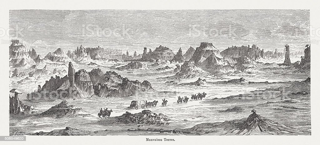 Badlands in South Dakota, wood engraving, published in 1882 vector art illustration