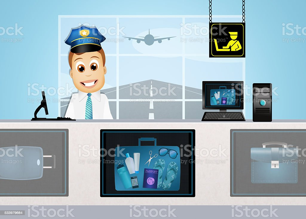 baggage control in airport vector art illustration