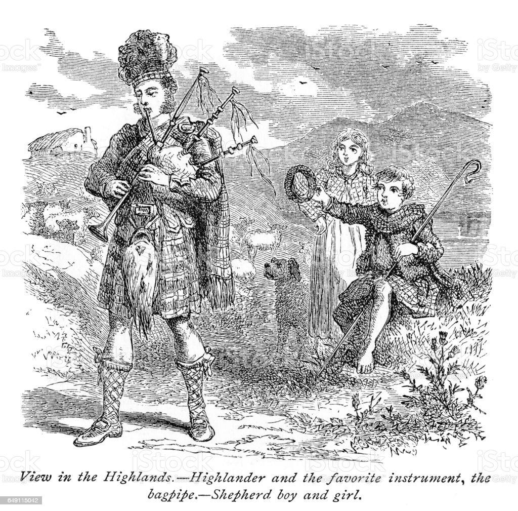 Bagpiper player engraving 1875 vector art illustration
