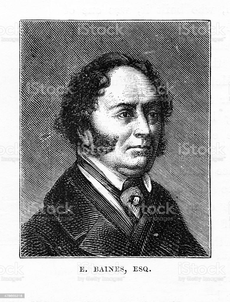 E. Baines, Esquire Victorian Engraving vector art illustration