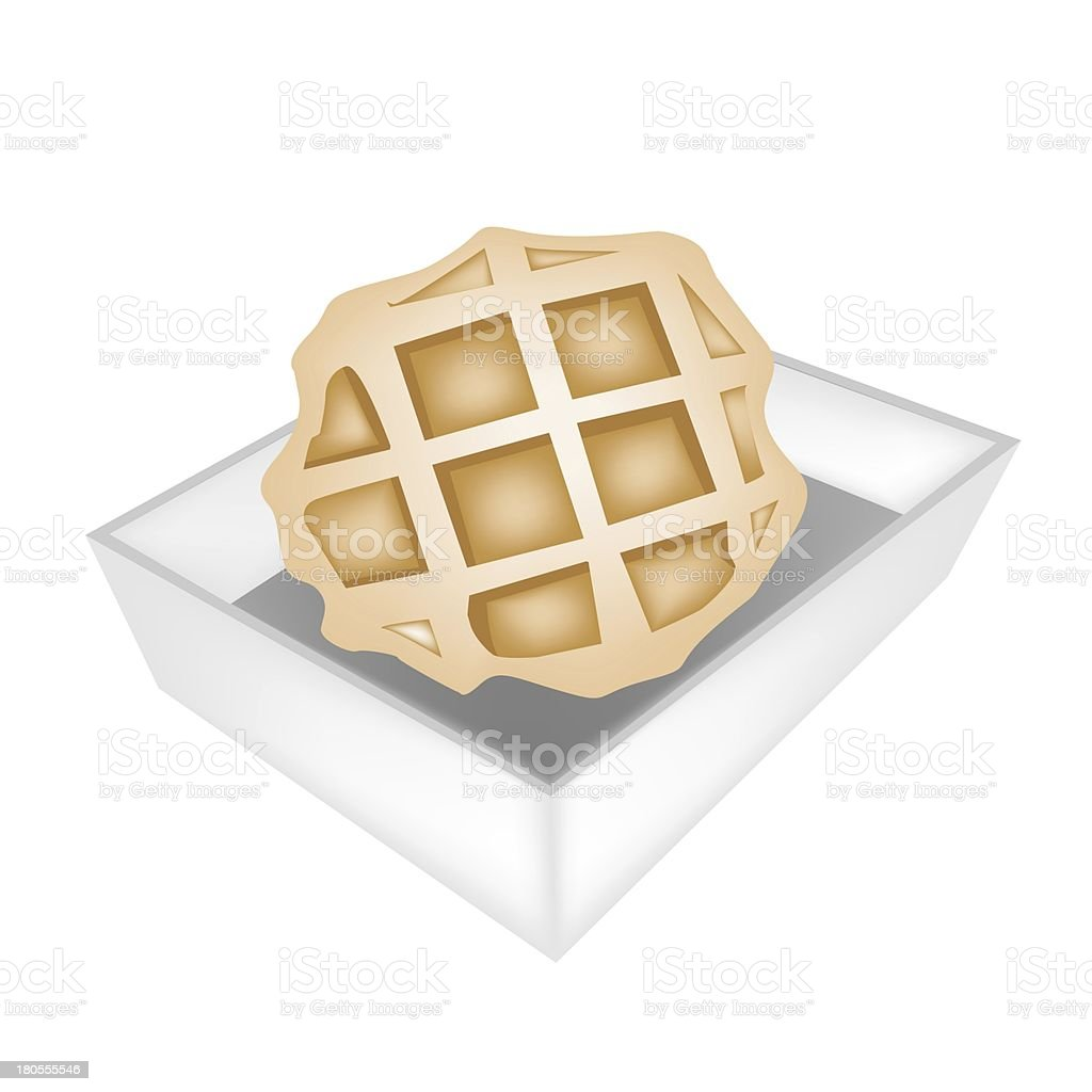 Baked Round Waffles in White Paper Box vector art illustration
