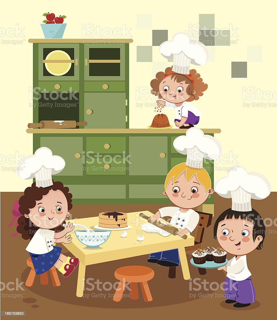 Baking Children vector art illustration