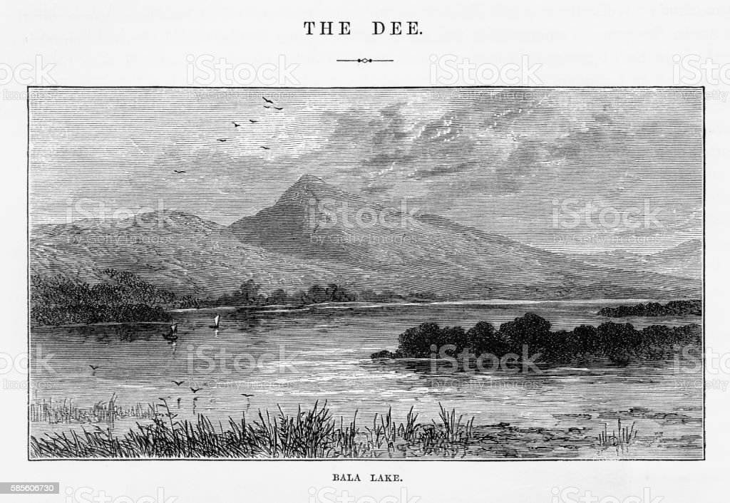 Bala Lake, in Gwynedd, Wales Landmarks Victorian Engraving, 1840 vector art illustration