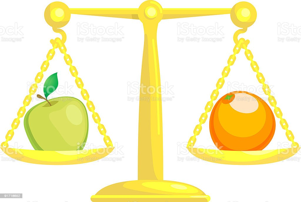 Balancing Or Comparing Apples With Oranges royalty-free stock vector art