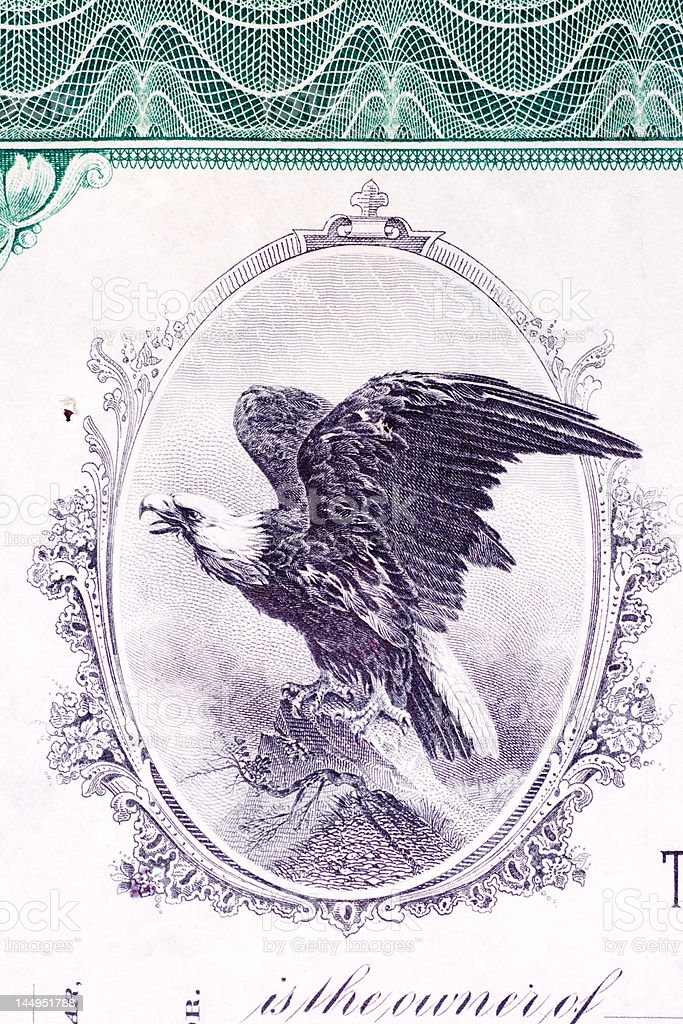 Bald Eagle Engraving Vignette From Old U.S. Stock Certificate royalty-free stock vector art