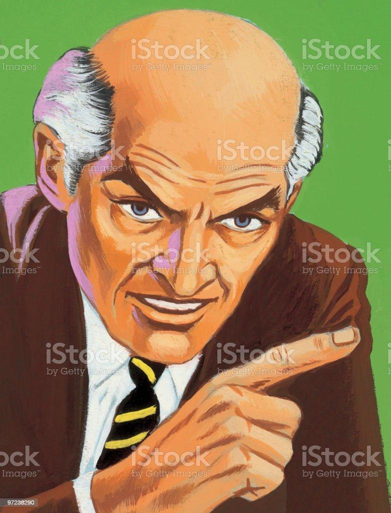 Bald Man Gesturing  royalty-free stock vector art