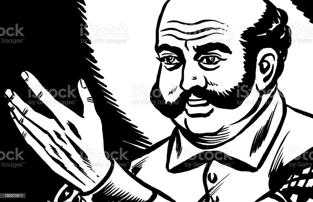 Bald Man Looking at His Hand vector art illustration