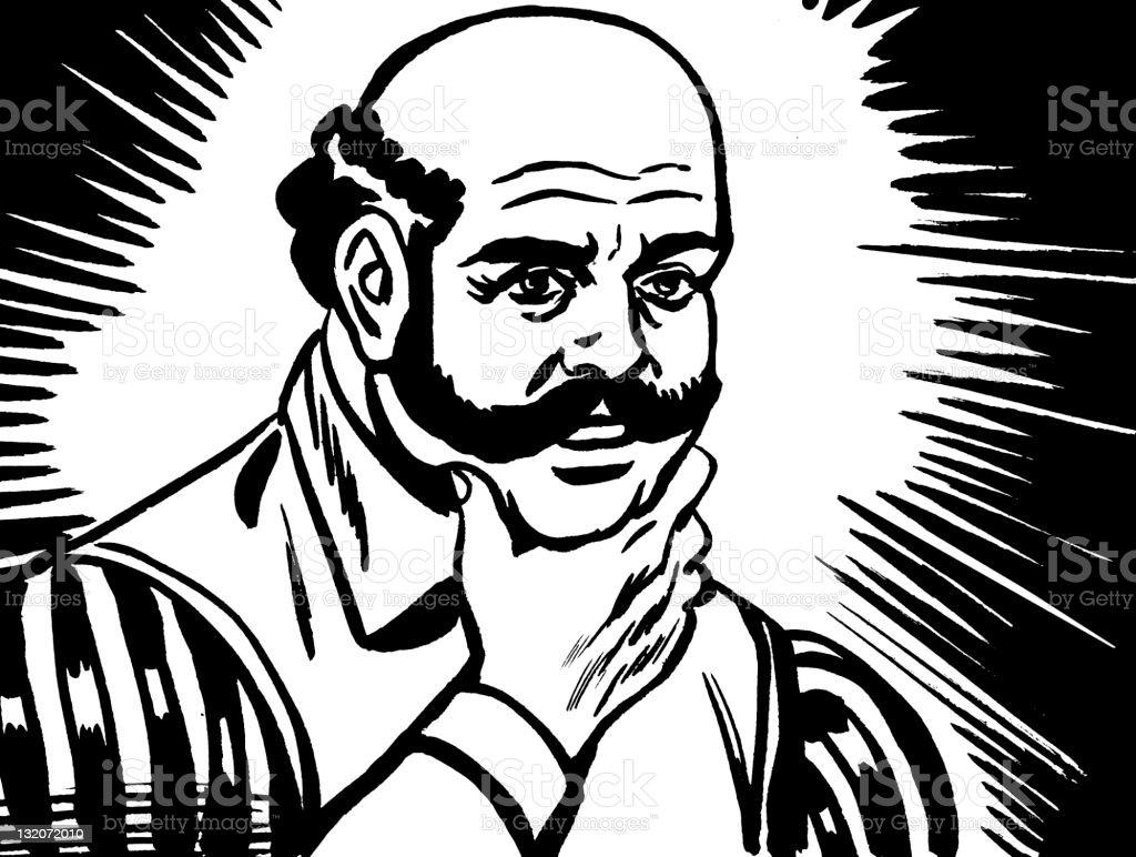Bald Man With Mustache vector art illustration