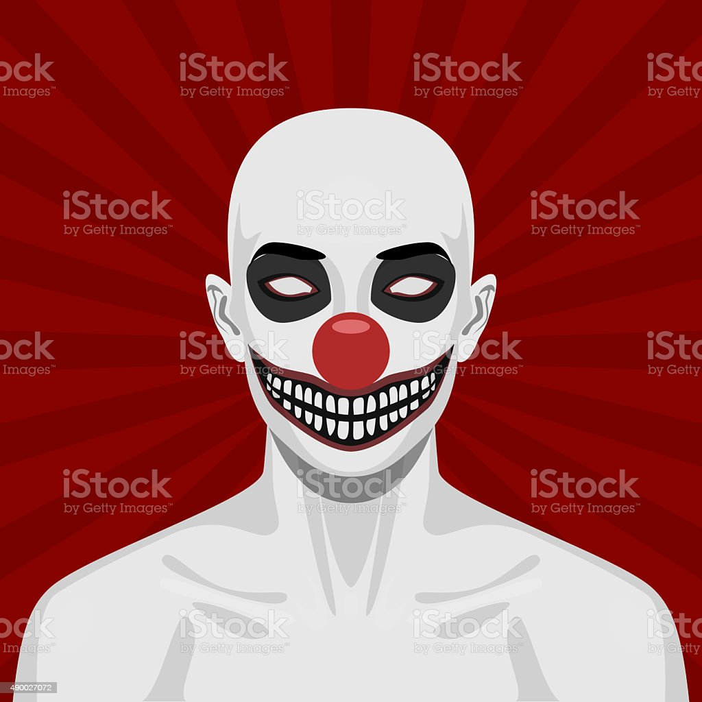Bald scary Clown with smiling Face vector art illustration