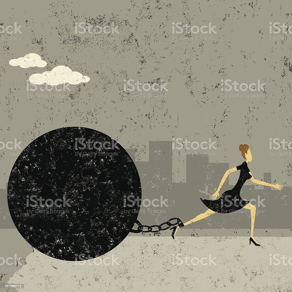 Ball and chain royalty-free stock vector art